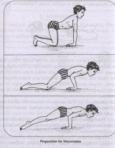 Step images of Mayurasana